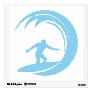 Azules cielos que practican surf vinilo decorativo