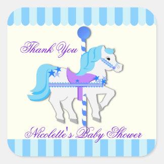 Azules cielos StarsThank del caballo del carrusel Pegatina Cuadrada