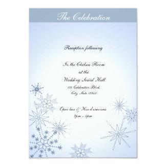"""Azules claros de los copos de nieve del invierno invitación 4.5"""" x 6.25"""""""