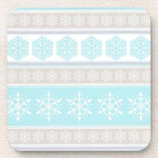 Azules claros y beige del suéter del esquí del posavasos
