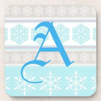 Azules claros y beige del suéter del esquí del posavasos de bebidas