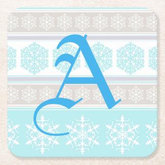 Azules claros y beige del suéter del esquí del posavasos personalizable cuadrado