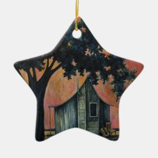 Azules de la anciano de caja, con la guitarra adorno navideño de cerámica en forma de estrella