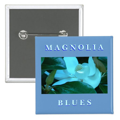 Azules de la magnolia pin cuadrada 5 cm