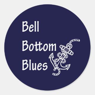 Azules de la parte inferior de Bell Pegatina Redonda