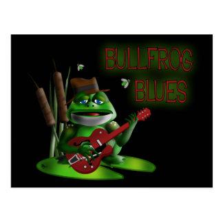 Azules de la rana mugidora tarjeta postal