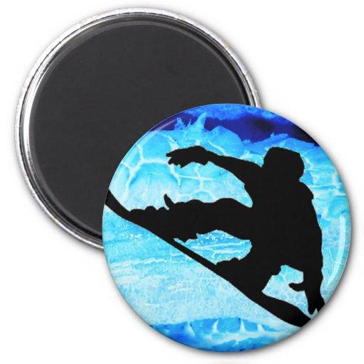 Azules de la snowboard imán de frigorífico