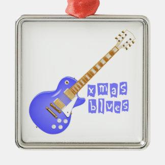 Azules de Navidad Adorno Navideño Cuadrado De Metal
