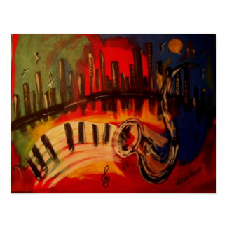 """""""Azules de New Orleans"""" por Linda Powell~Original Póster"""