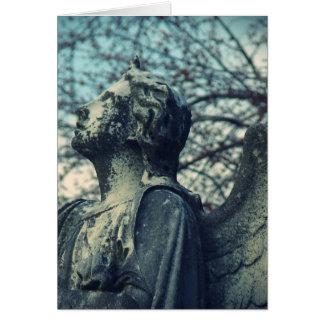 Azules de piedra del ángel tarjeta de felicitación