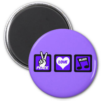 Azules del amor de la paz imán redondo 5 cm