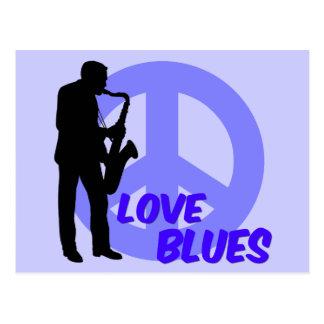 Azules del amor de la paz postal