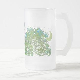 Azules del árbol taza de cristal