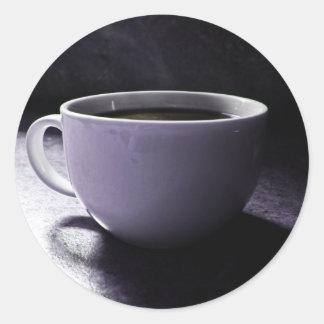 Azules del café pegatina redonda