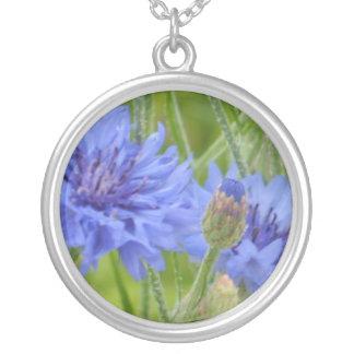 Azules del Cornflower Collar Plateado