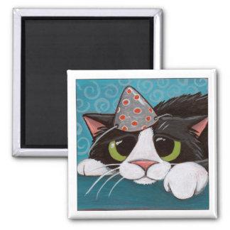 Azules del cumpleaños - imán del gato