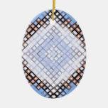 Azules del diamante adorno ovalado de cerámica