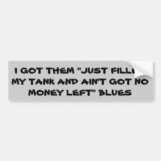Azules del precio de la gasolina etiqueta de parachoque