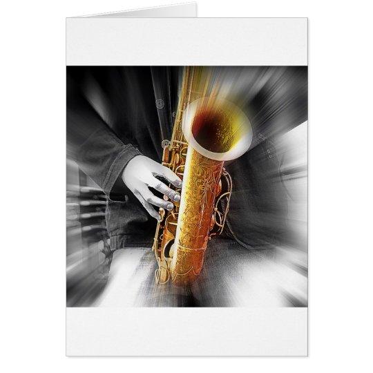 Azules en saxofón tarjeta de felicitación