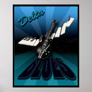 Azules guitarra del delta y teclado Starburst Impresiones