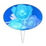 Azules imagen invertida tres rosas decoración de tarta