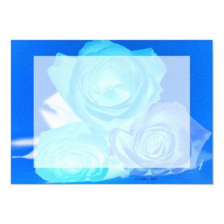 """Azules imagen invertida tres rosas invitación 5"""" x 7"""""""