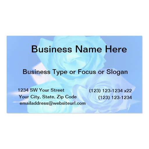Azules imagen invertida tres rosas tarjetas de visita