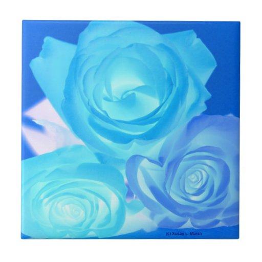 Azules imagen invertida tres rosas teja cerámica