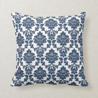 Azules marinos - almohada blanca del damasco