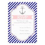Azules marinos, ancla rosada RSVP que se casa náut Invitación