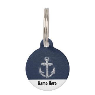 Azules marinos/blanco náuticos del ancla del vinta placas para mascotas