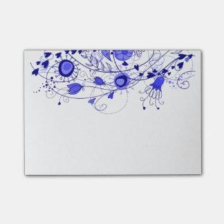 Azules marinos caprichosos - cuaderno de notas del post-it notas