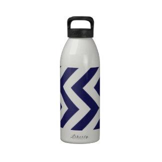 Azules marinos Chevron Botella De Beber