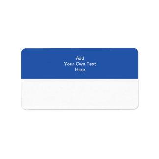 Azules marinos con el área y el texto blancos etiqueta de dirección
