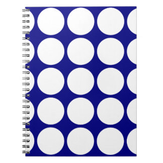 Azules marinos con los lunares blancos grandes cuaderno