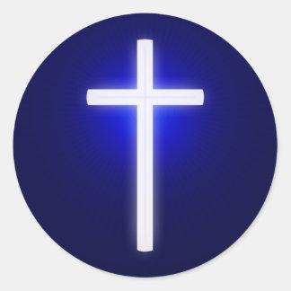 Azules marinos cristianos blancos de la cruz el | pegatina redonda