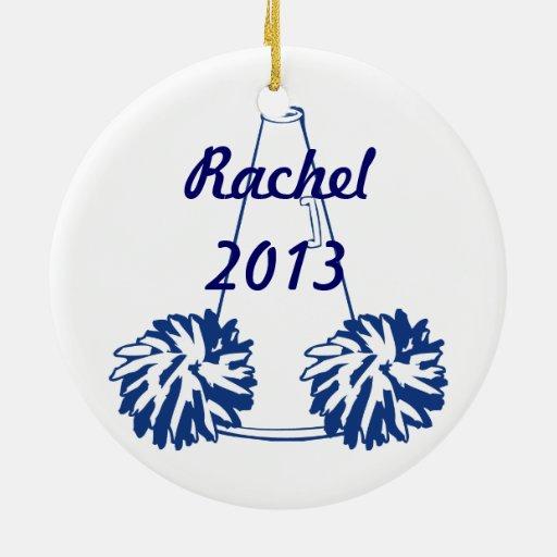 Azules marinos de encargo que animan el ornamento adorno navideño redondo de cerámica