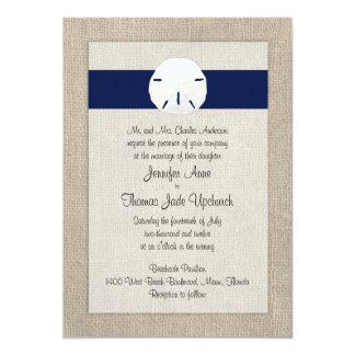 Azules marinos de la invitación del boda de playa invitación 12,7 x 17,8 cm