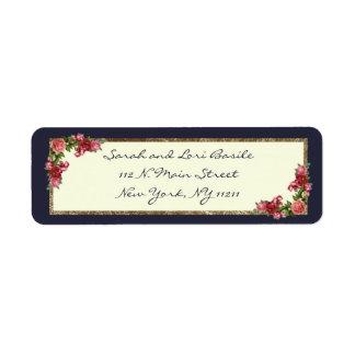 Azules marinos de los rosas e invitaciones del etiqueta de remite