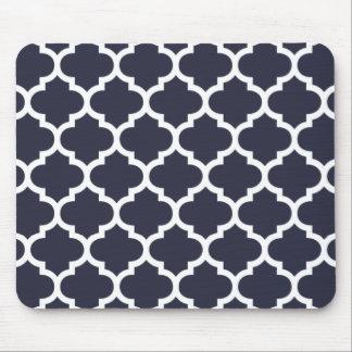 Azules marinos de Quatrefoil Mouse Pads