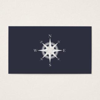 Azules marinos del compás náuticos tarjeta de negocios