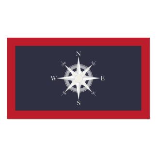 Azules marinos del compás y náutico rojo tarjetas de visita