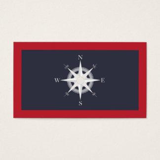 Azules marinos del compás y náutico rojo tarjeta de negocios