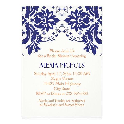 """Azules marinos del damasco, ducha nupcial del boda invitación 5"""" x 7"""""""