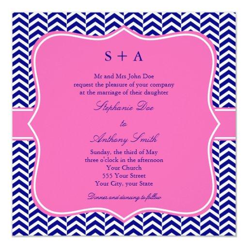 """Azules marinos del monograma con el boda de invitación 5.25"""" x 5.25"""""""