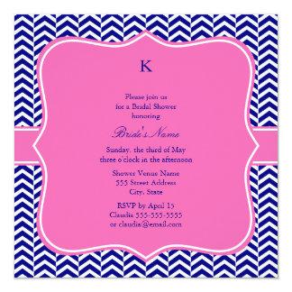 """Azules marinos del monograma con las rosas fuertes invitación 5.25"""" x 5.25"""""""