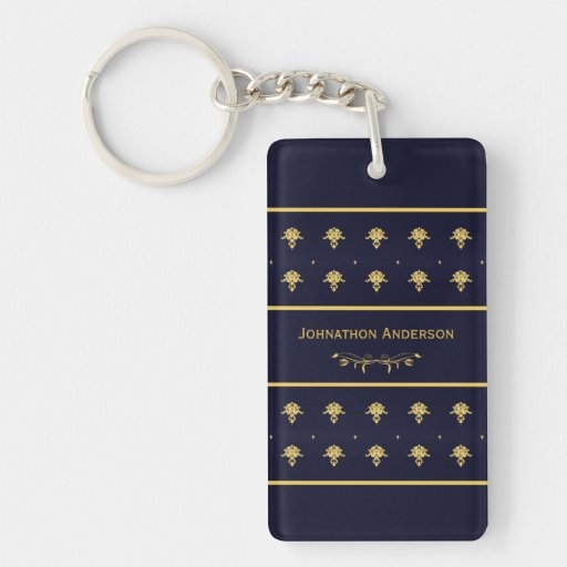 Azules marinos del vintage y libro del oro con nom llavero