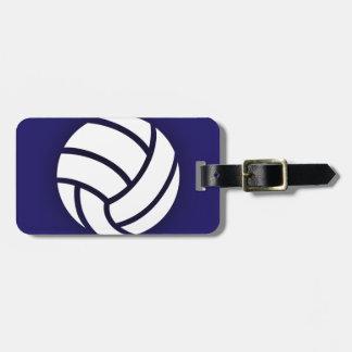 Azules marinos del voleibol etiqueta para maleta