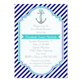 Azules marinos, ducha nupcial del boda náutico de invitación 12,7 x 17,8 cm