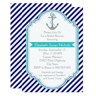 """Azules marinos, ducha nupcial del boda náutico de invitación 5"""" x 7"""""""